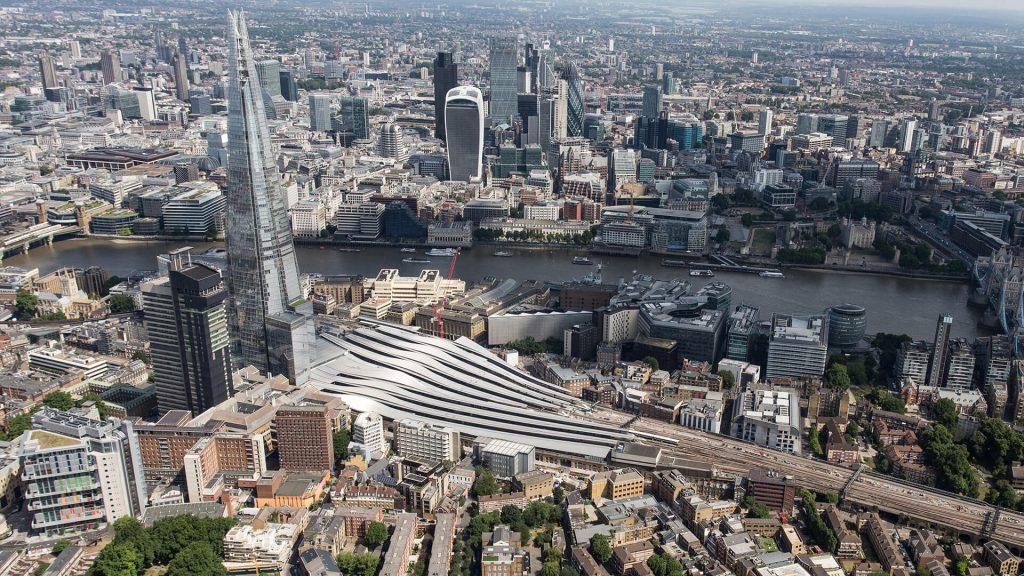 Aerial view of London Bridge station