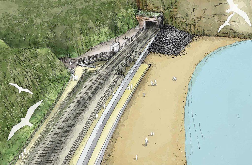 Artist's impression of Smugglers bridge landwards