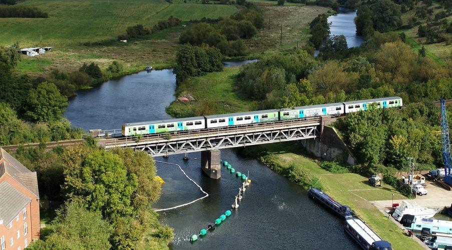 HydroFLEX train travelling over the River Avon, daytime